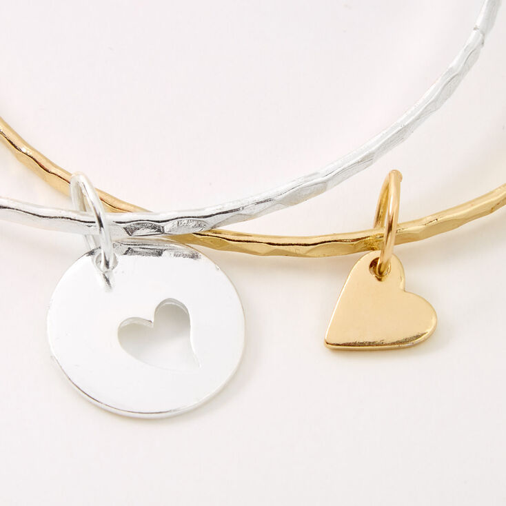 Mother Daughter Matching Heart Charm Bangle Bracelets - 2 Pack,