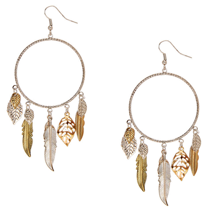 Laser Cut Silver Hoops with Leaf Fringe,