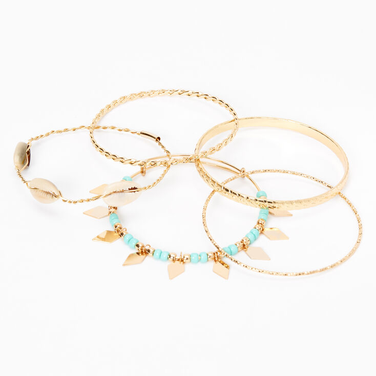 Gold Cowrie Shell Beaded Bangle Bracelets - Turquoise, 5 Pack,