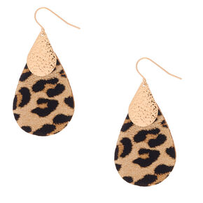 "Gold 2"" Leopard Teardrop Drop Earrings,"