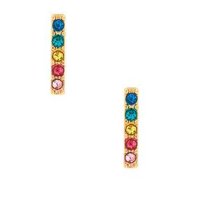 Gold Bar Stud Earrings - Rainbow,