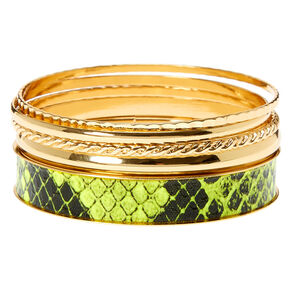 Gold & Neon Snakeskin Bangle Bracelets - 5 Pack,