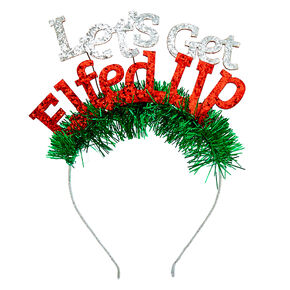 Let's Get Elfed Up Tinsel Headband,