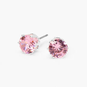 Silver Cubic Zirconia Round Stud Earrings - Pink, 7MM,