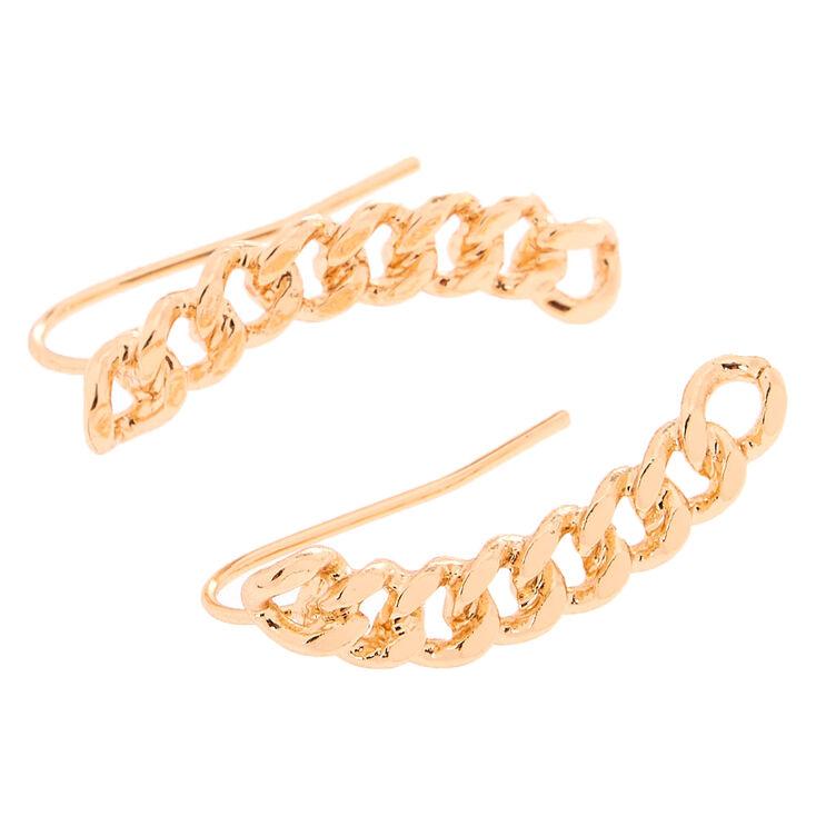 "Gold 1"" Chain Ear Crawler Earrings,"