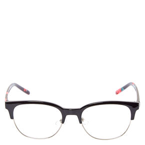 Retro Rose Black Half Rim Fake Glasses,