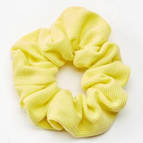 Lemon Yellow Ribbed Knit Hair Scrunchie - Medium,