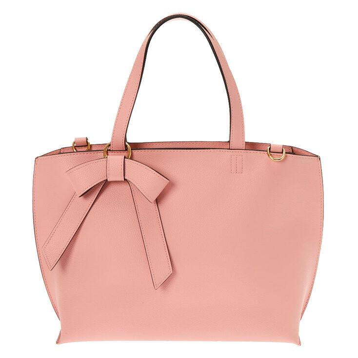 Bow Accent Satchel Crossbody Bag - Pink,