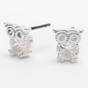 Sterling Silver 5MM Cubic Zirconia Owl Stud Earrings,