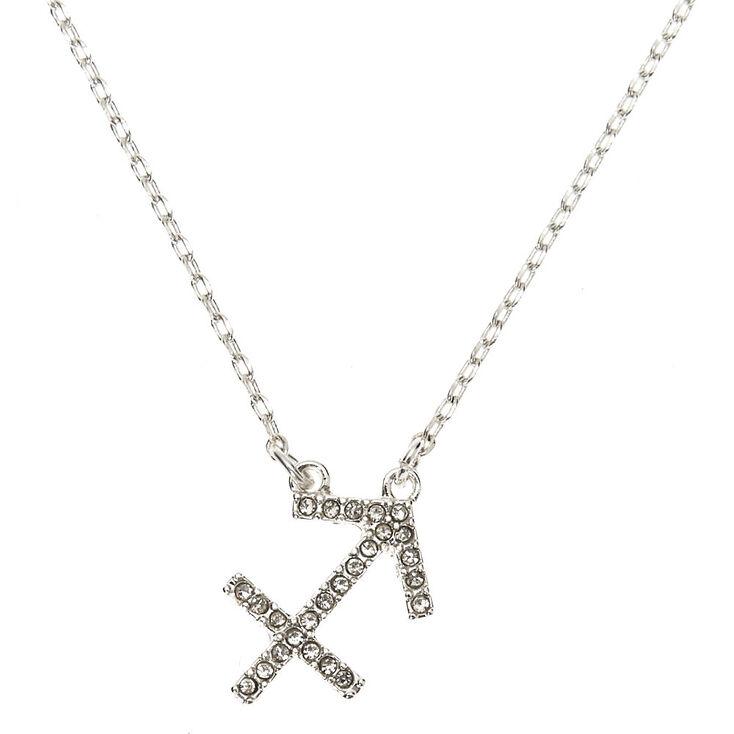 Silver Zodiac Pendant Necklace - Sagittarius,