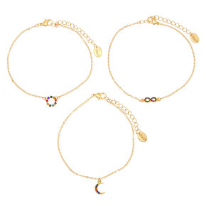 Rainbow Infinity Moon Anklet - Gold, 3 Pack,