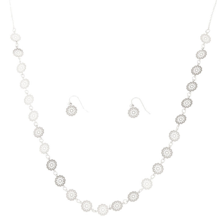 Silver Filigree Disc Long Necklace,