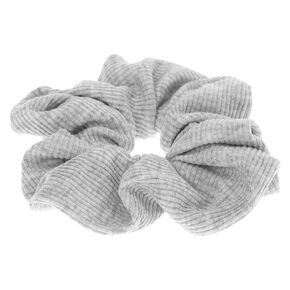 Medium Ribbed Hair Scrunchie - Light Gray,