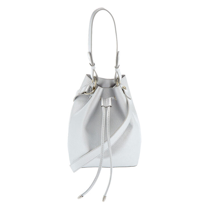 Bucket Crossbody Bag - Silver,