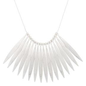 Silver Nail Stick Statement Necklace,