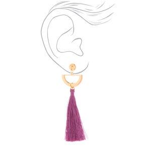 """Gold 4"""" Half Moon Tassel Drop Earrings - Purple,"""
