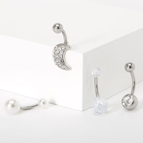Silver 14G Pearl Moon Belly Rings - 4 Pack,