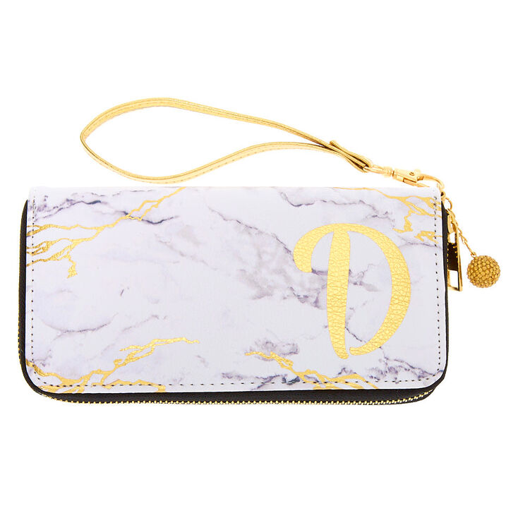 Marble Initial Wristlet - D,