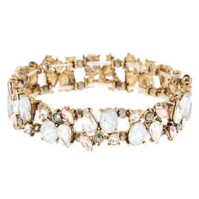 Antique Embellished Stretch Bracelet - Pink,