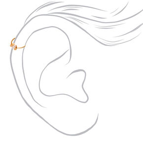 Gold Twisted Pearl Faux Cartilage Hoop Earrings - 3 Pack,