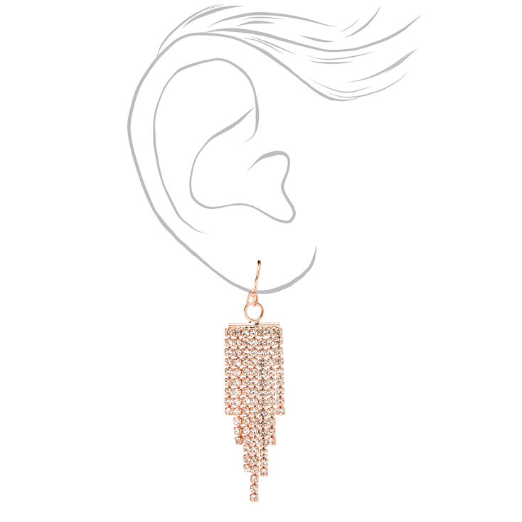 Rose Gold Rhinestone Swag Chain Bracelet & Fringe Drop Earring Set - 2 Pack,