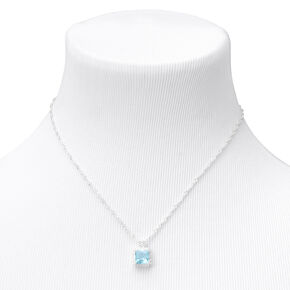Silver Cubic Zirconia Square Halo Pendant Necklace - Blue,