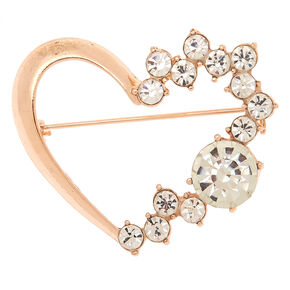 Rose Gold Glass Rhinestone Wreath Brooch,