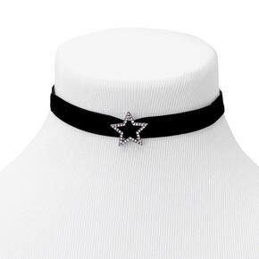 Silver Star Velvet Choker Necklace - Black,