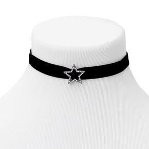 Silver Star Velvet Choker Necklace - Black,