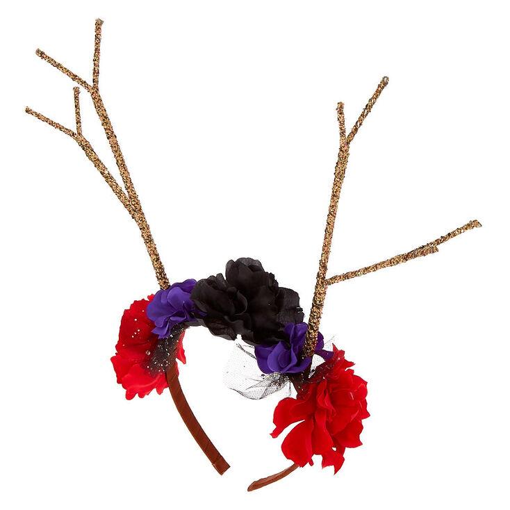 Floral Glitter Antler Headband,