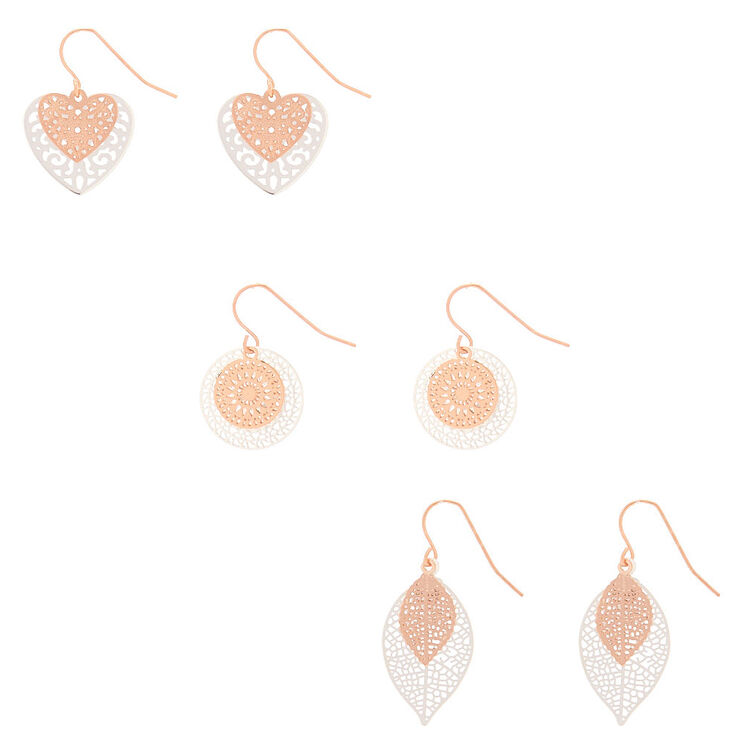 Mixed Metal Filigree Layered Drop Earrings - 3 Pack,