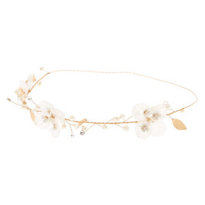 Gold Flower Crown Headwrap - White,