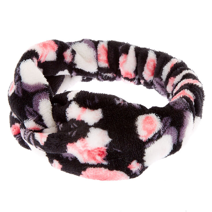 Floral Knotted Makeup Headwrap - Black,