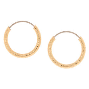 Gold 10MM Textured Hoop Earrings,