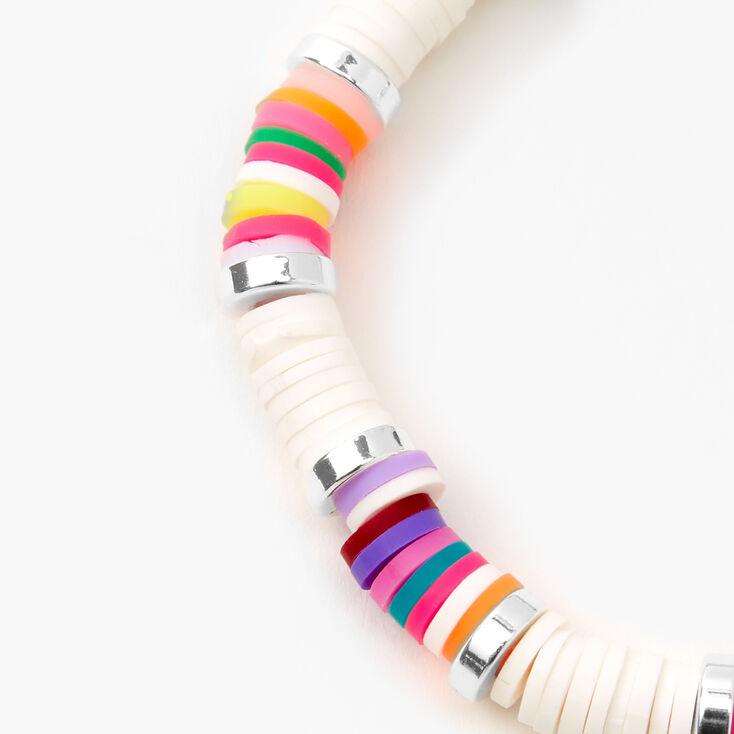 Silver Rainbow Disc Stretch Bracelet - White,
