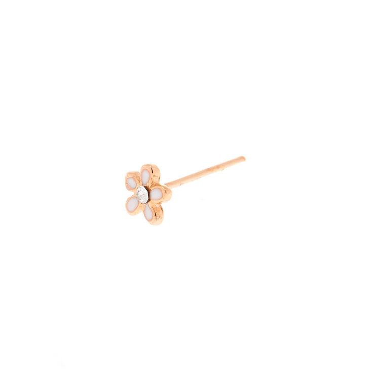 Rose Gold Sterling Silver 22G Flower Nose Stud,