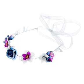 Silver Glitter Flower Crown Tie Headwrap - Purple,