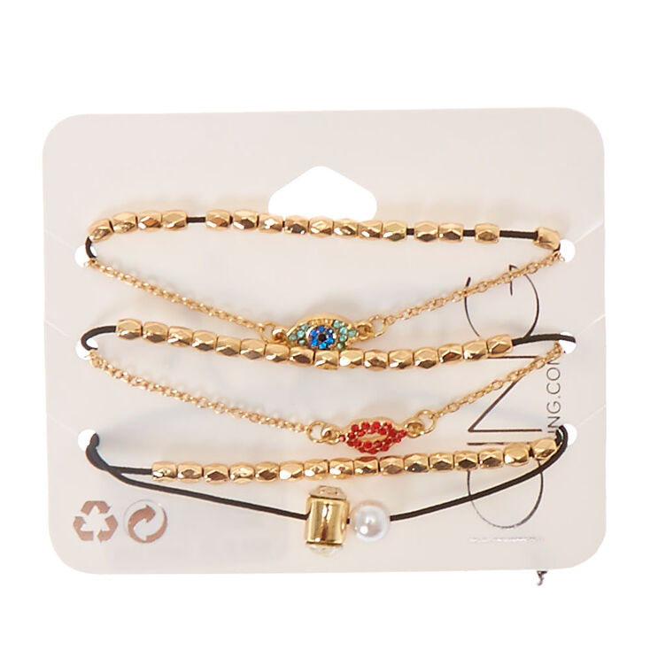 Evil Eye, Lips & Faux Pearl Charm Bracelet Set,