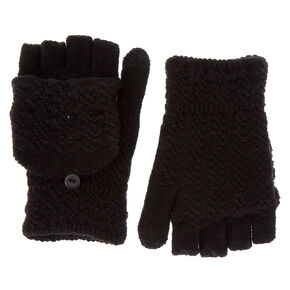 Touch Screen Fingerless Gloves with Mitten Flap - Black,