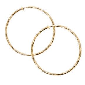 Laser Cut Gold Tone Spring Clip Hoop Earrings,