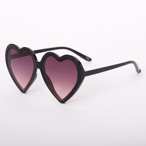 Oversized Heart Sunglasses - Black,