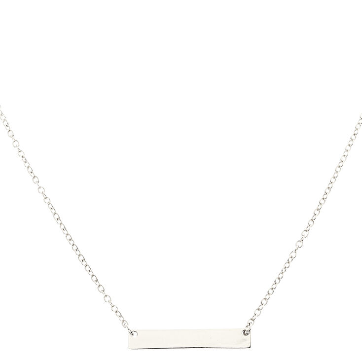 Silver Bar Pendant Necklace,