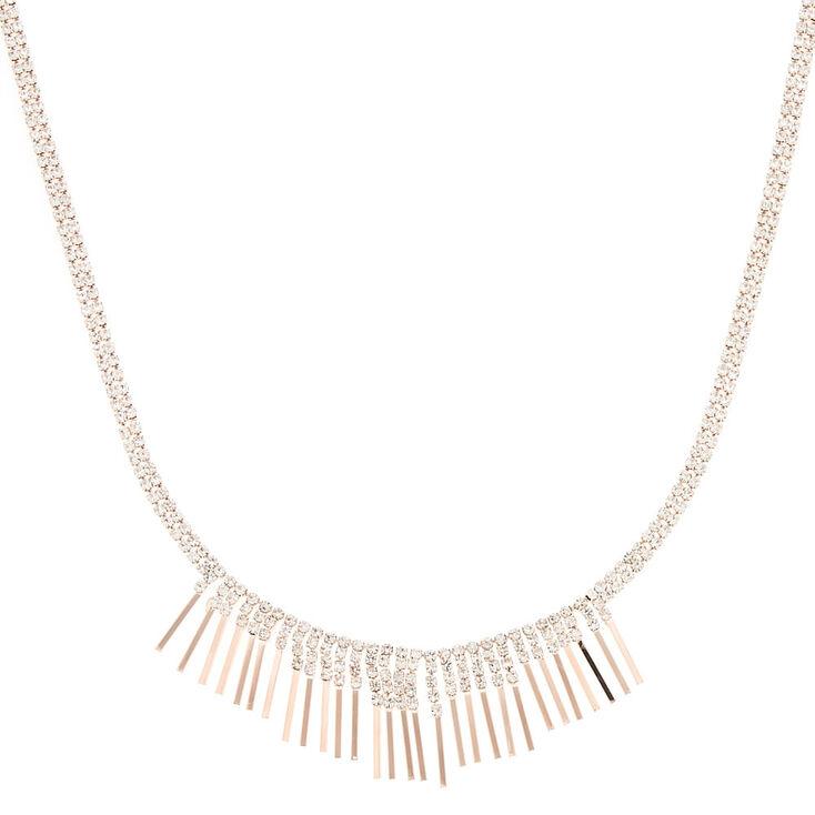 Rose Gold Crystal Bib Necklace,