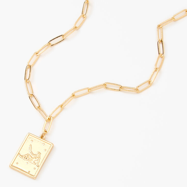 Gold Rectangle Zodiac Symbol Pendant Necklace - Virgo,