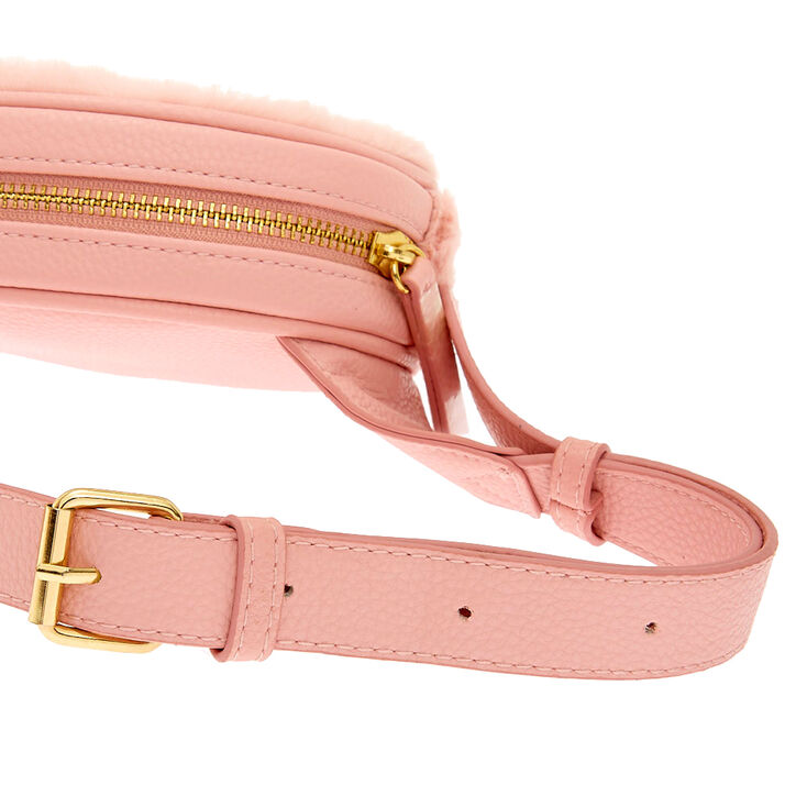 Faux Fur Oval Fanny Pack - Pink,