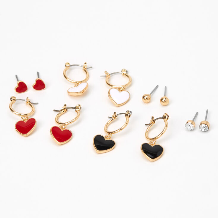 Gold Heart Stud & Hoop Earrings - 6 Pack,