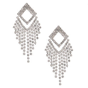 "Silver Rhinestone 2"" Geometric Drop Earrings,"