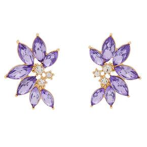 Crystal Floral Stud Earrings - Purple,