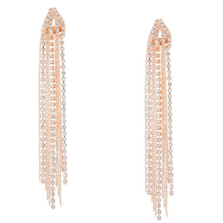 Rose Gold-Tone Waterfall Drop Earrings,