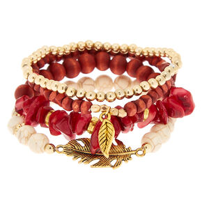 Desert Bead Stretch Bracelets - Red, 4 Pack,